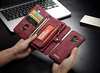 Zipper Wallet Leather Purse Flip Case Removable Cover For Samsung S9+S8 iPhone X