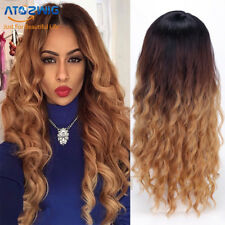 Natural Synthetic Long Wig for Women Black Ombre Purple Straight Wave Hair