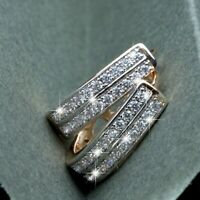 18k yellow white gold made with SWAROVSKI crystal classic huggie earrings small