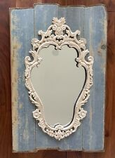 Gorgeous Ornate Wall Mirror Antique Vtg Baroque Style Repro White On Wood Base