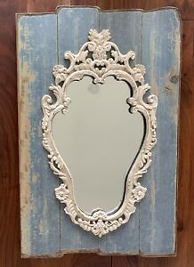 Ornate Wall Mirror Antique Vintage Baroque Style Repro On Wood Base Gorgeous
