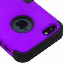 For Apple iPhone 5 Rubber IMPACT TUFF HYBRID Case Skin Phone Cover Purple Black