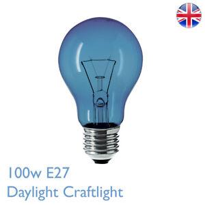 100w E27 Daylight Craftlight GLS Blue Filter Bulb Lamp 240v SAD Therapy Crafts