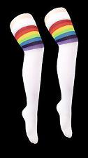 Mujer señoras del arco iris árbitro por encima de la rodilla alta Calcetines Medias de Algodón Deporte