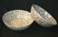 "Vintage Set LOT OF 2! Boonton White w/ Brown Confetti Splatter Bowls 8"" Soup +"
