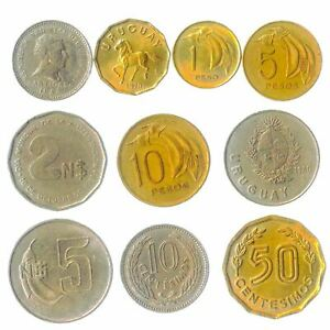 10 DIFFERENT COINS FROM URUGUAY. URUGUAYAN CURRENCY: CENTESIMOS, PESOS 1968-2021