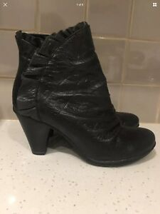 Bresley Leather Ankle Boots Dazzle New Black Size 39 #37