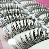 Soft 10Pairs Long Makeup Cross Thick False Eyelashes Eye Lashes Nautral Handmade