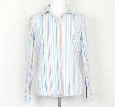 J. Crew Women's Shirt Medium Rainbow Striped Fitted Button Down Long Sleeve Top