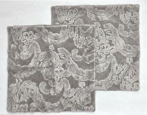 "2 NEW Pottery Barn Natalia Jacquard Textured 22 x 22"" Pillow Covers~Alloy Gray"
