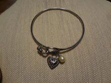 Honora white pearl stainless steel bangle heart bracelet.