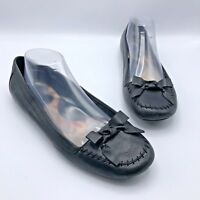 Born W32177 Women Black Leather Ballet Flat Shoe Size 11 EUR 43 Pre Owned