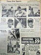 1938 newspaper w photos of top NY YANKEE baseball players DIMAGGIO Gehrig DICKEY