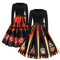 Women Long Sleeve Halloween Pumpkin Swing Skater Dress Ladies Retro Costume US