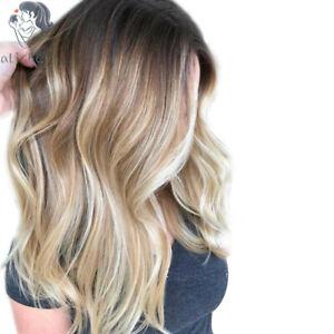 100% Real hair! New Fashion Women's Medium Brown Mix Blonde Wavy Human Hair Wigs
