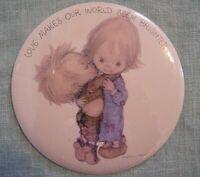 "Vintage Hallmark Love Dots Button ""Love Makes The World Seem Better Betsey Clark"
