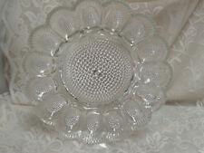 Vintage Indiana glass dimpled-dewdrop hobnail deviled egg Easter oyster plate 11