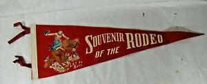 "Souvenir Of The RODEO Vintage Felt Pennant, ""Let 'Er Buck"""