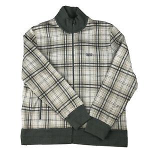 Hugo Boss NHLPA Gray Plaid Track Jacket Mens Full Zip Green label tag