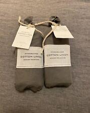 Pair of Restoration Hardware Stonewashed Cotton Linen EURO Shams in Graphite
