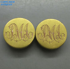 VICTORIAN RARE PAIR SOLID 14CT GOLD HINGED PHOTO FRAME LAPEL STUDS 14g c1875
