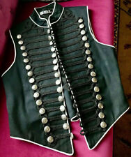 Mens M Medium SDL Steampunk New Romantics Military Waistcoat Black White Trim
