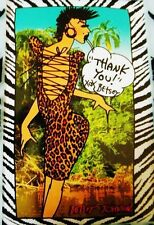 Betsey Johnson Poster POP ART CARD Print THANK YOU Runway LEOPARD CORSET DRESS