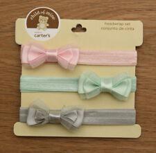 Carter's Child of Mine 3 Piece Headband Set ~ Pink, Mint Green & Gray ~ 0-6M ~
