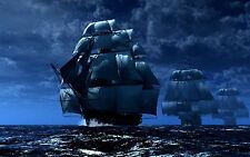 Incorniciato stampa-PIRATA navi che navigano nei mari alto (foto poster arte MARE SPIAGGIA