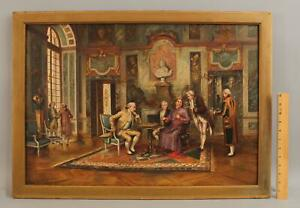 19thC Antique JUAN GONZALES 18thC Palace Interior, Chess Game Oil Painting, NR