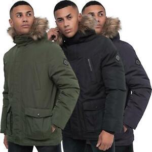 Mens Crosshatch Parka Jacket Coat Padded Quilted Fur Fleece Lined Hooded Winter