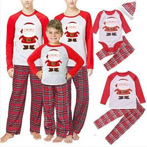 Families Matching Christmas Gifts Nightwear Pjs Santas Long Sleeve Pyjamas Suit