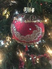 "Pretty Kurt Adler 3.5"" Glass Matte Red & Gold Baroque Christmas Ball Ornament!"