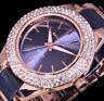 Excellanc Uhr Damenuhr Armbanduhr Anthrazit  Rose Gold Farben Metall Strass - 3G