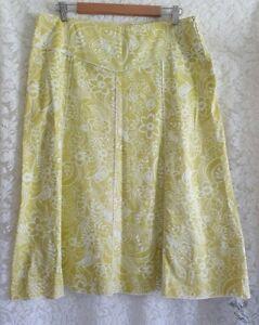Ladies size 12 Lime Green Floral Aline Skirt - Cordelia St