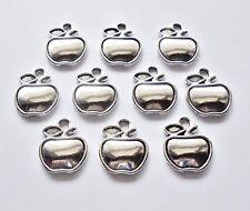 Apple Charms / Pendants  - Antique Silver - Set of 10 -Teacher Appreciation