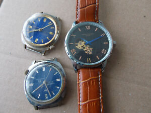 Vintage Mens mechanical watches x 3,spares or repair,as found.