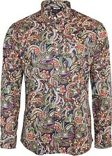Shirt Dark Navy Black Red Paisley Men's Button Down Long Sleeve Cotton Relco 3xlarge