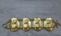 Vintage Corocraft Goldtone lady in 3D relief Rococo Style bracelet