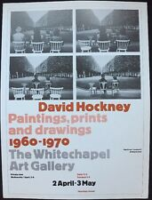 "David Hockney Whitechapel Galley Londres Mini Poster Pop Art auth. repro .14x10"" 24"