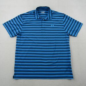 Under Armour Polo Shirt Adult XL Heat Gear Loose Men Blue Striped Stretch Golf