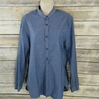 H&M Size S Womens Shirt Blue Chambray Conscious Collection Collerless Tab Sleeve