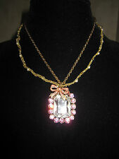 BETSEY JOHNSON RARE VINTAGE PINK PRINCESS NECKLACE WITH BOW AND PEARLS