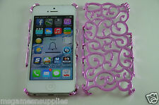 Pink Vine Hollow Swirl Luxury Designer Trendy Cell Phone Case for iPhone 5 5S