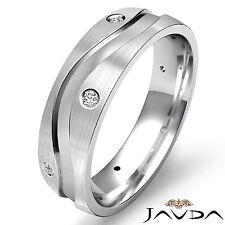 Eternity Wedding Diamond Mens Band Center Curve Step Ring 14k White Gold 0.64Ct