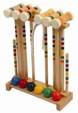 Amish Made Croquet Set Game- Durable Maple Hardwood  6-Player