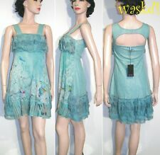 SAVE THE QUEEN delicate S Aqua blue Silk Chiffon LACE detail dress NWT Authentic