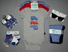 Baby boy clothes, 0-3 months, Carter's Child of Mine bodysuit,pants,socks,shoes