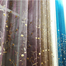 Luxury Embroidery Rose Voile Curtain Tulle Sheer Panel Bedroom Window Drapes