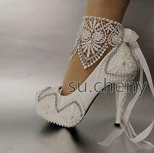 High heel white light ivory lace platform  ribbon ankle wedding shoes size 5-10